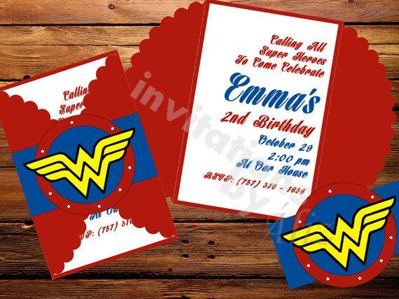 Invitaciones Mujer Maravilla Hechas A Mano By
