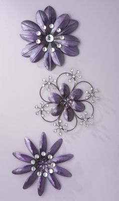 Purple Metal And Crystal Wall Flowers Purple Wall Decor Purple Wall Flowers Flower Wall