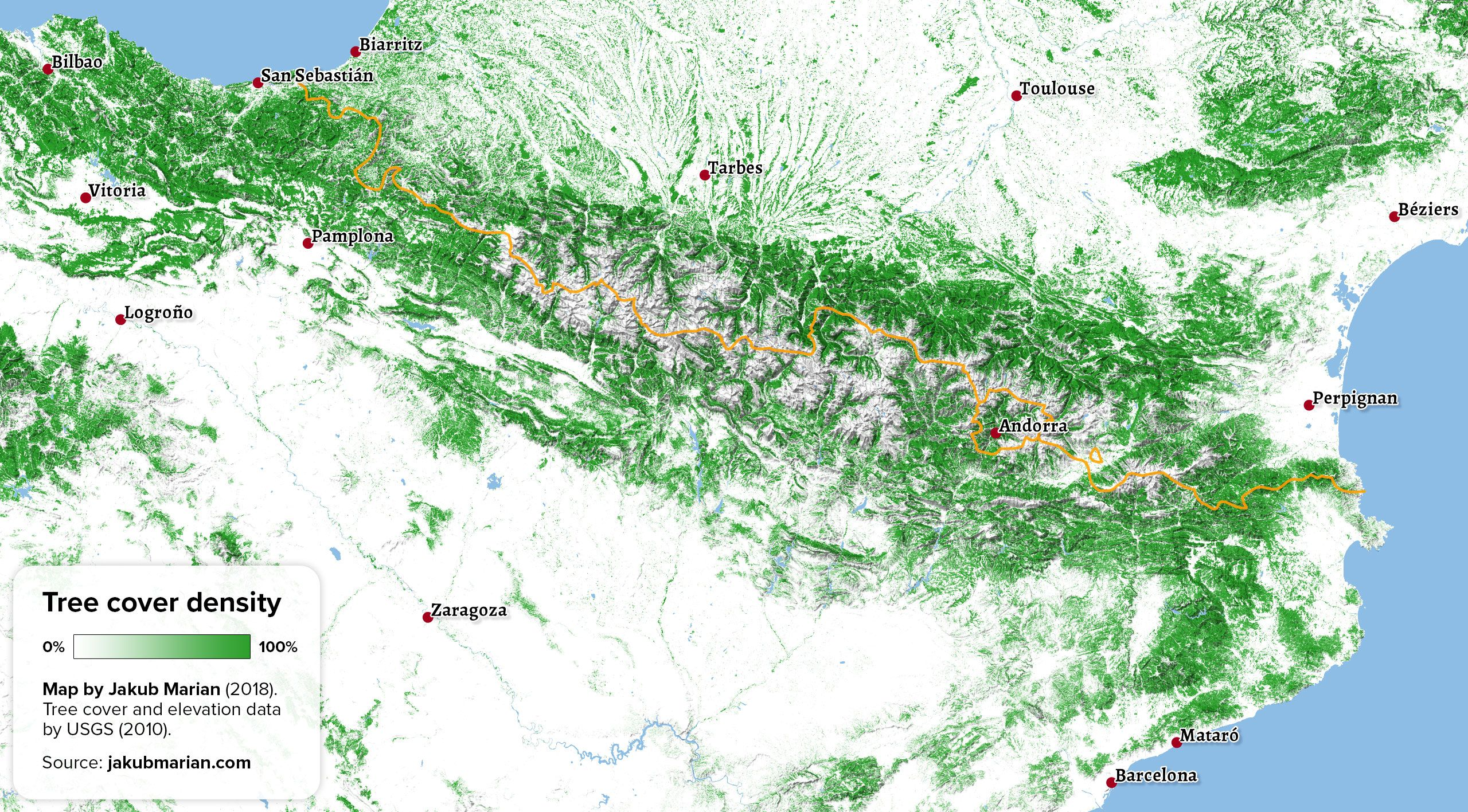 Tree Cover Of The Pyrenees