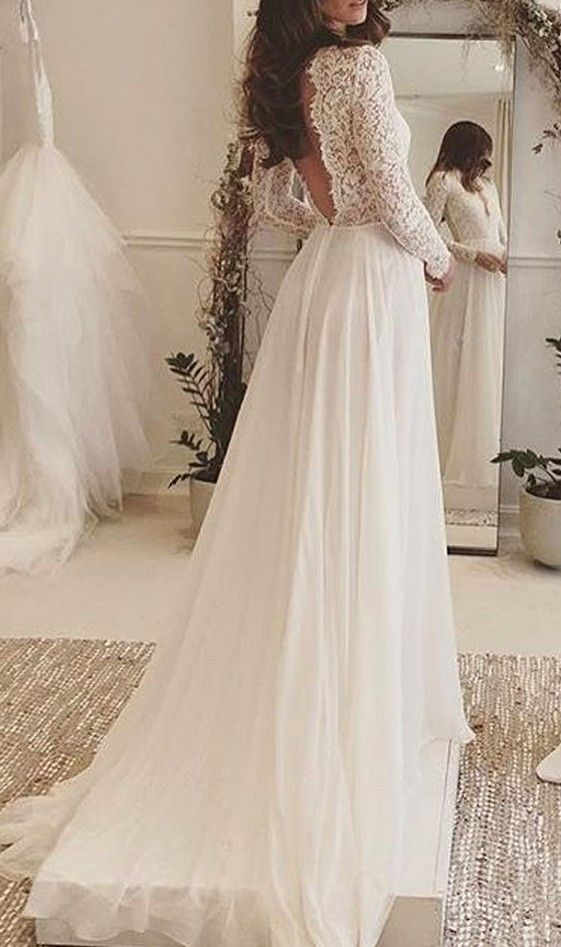 Summer Style Lace Long Sleeve Wedding Dresses 2016 Long Sleeve