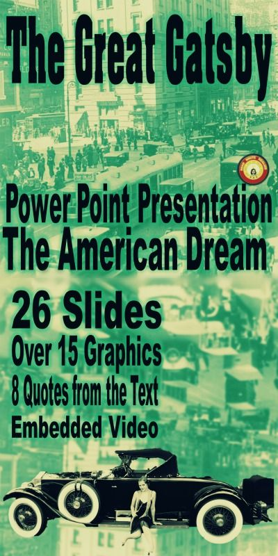 the great gatsby and the american dream theme powerpoint presentation