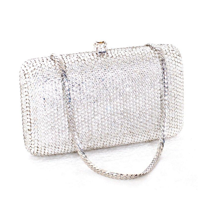 348e57625 Bolsa para Festa em Cristal Swarovski Retangular - Prata | Moda ...