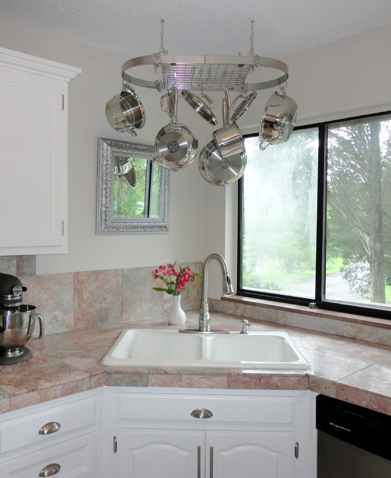 Kitchen Oval Hanging Cookware Rack And White Kitchen Sink With Entrancing Corner Kitchen Sink Design Ideas Review