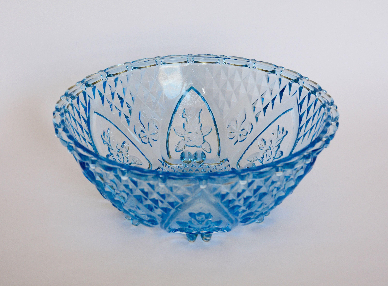 Vintage Blue Glass Bowl Kig Indonesia Blue Decorative Bowl Blue