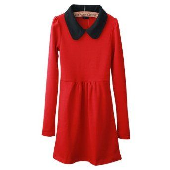 AsdsTM Girls Fashion Stitching Color Lapel Long-sleeved Dress 7892