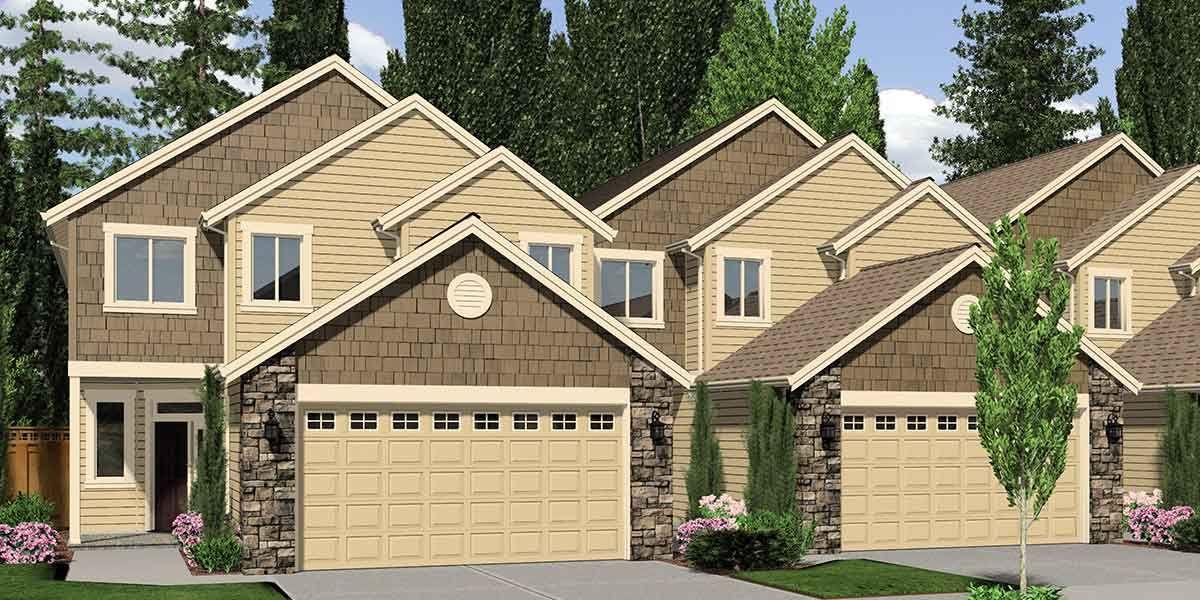 Plan 38024LB: Master on Main Fourplex House Plan   House ...