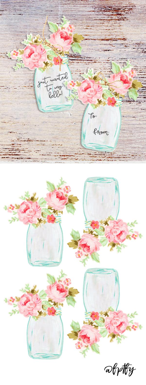 Free Mason Jar Floral Tags Pretty Mason Jar Crafts Mason Jars Gift Tags