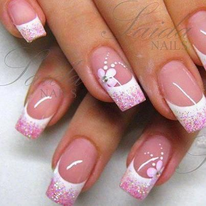 pink and white french tip manicupe long square shaped