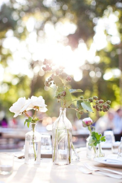 Casual Summer Wedding Centerpieces Simple Rustic Wedding