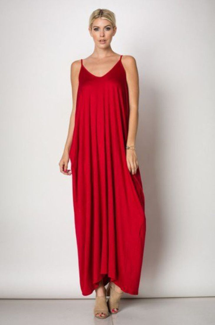 Harem Maxi Dress With Pockets In Red Maxi Dress Pocket Maxi Dress Dresses