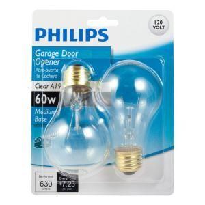 Philips 60 Watt A19 Garage Door Light Bulb 2 Pack 415430 At The Home Depot Light Bulb Garage Door Lights Bulb