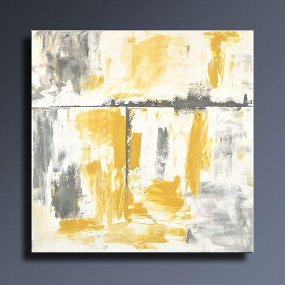 PEINTURE abstraite 36 jaune gris peinture sur toile Art Eda