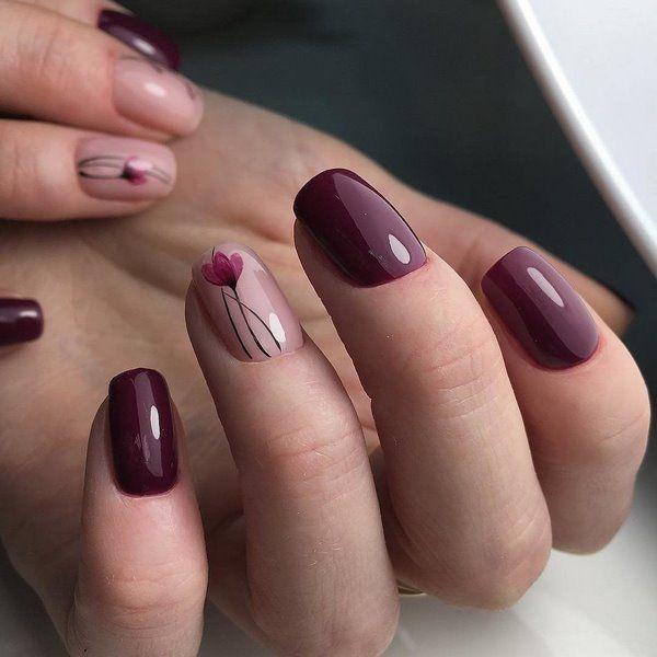 elegant nail design ideas burgundy flower nails #burgundynails #nails  #artideas - Elegant Nail Design Ideas Burgundy Flower Nails #burgundynails