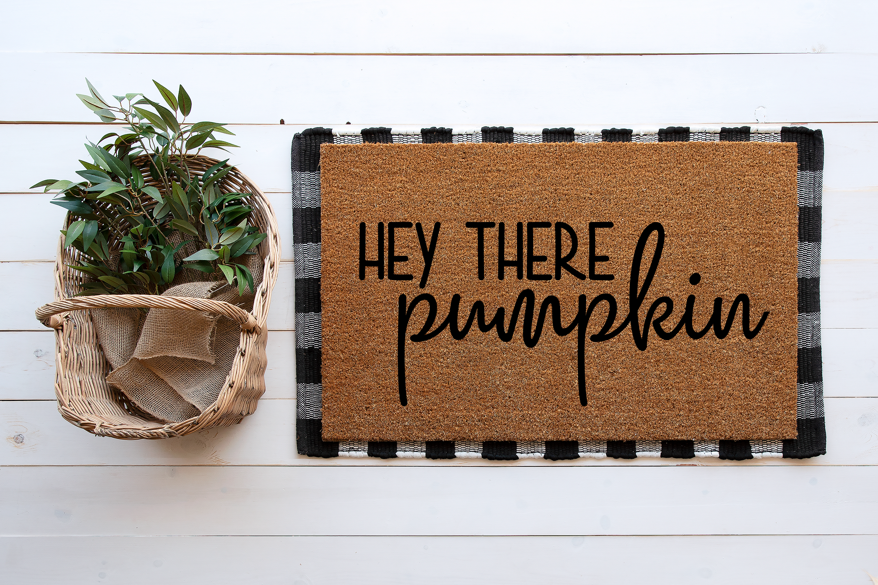 This listing is for a Hey There Pumpkin Coir Doormat. Perfect addition to your front door or as a gift! Details: -18