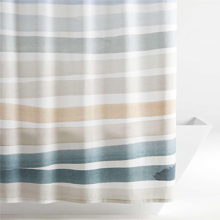 kasura stripe watercolor shower curtain