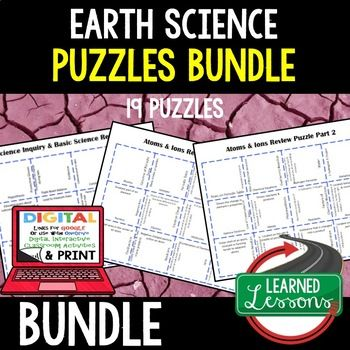Earth Science 19 Review Puzzles Google Print BUNDLE