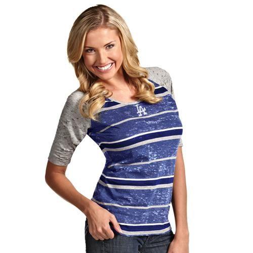 Antigua L.A. Dodgers Ladies Sugar Burnout T-Shirt - Royal Blue