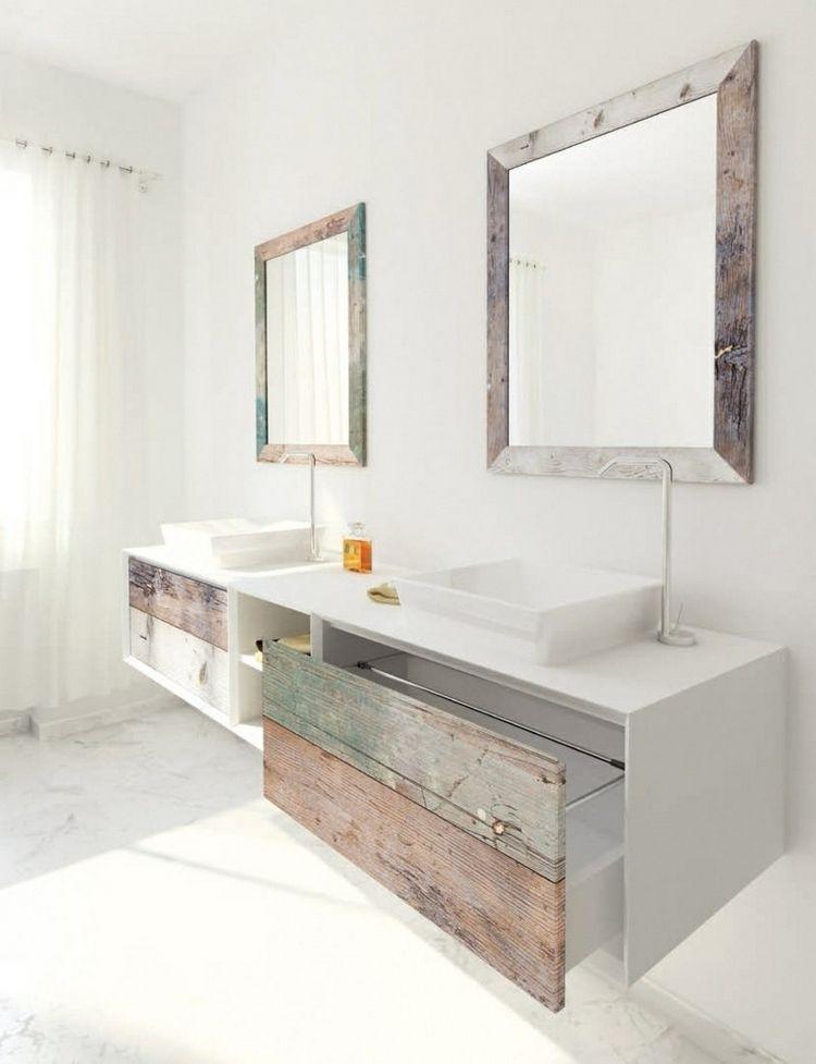 Meuble Double Vasque Salle Bain Bois Ceruse Blanc Mat Cadres Miroirs