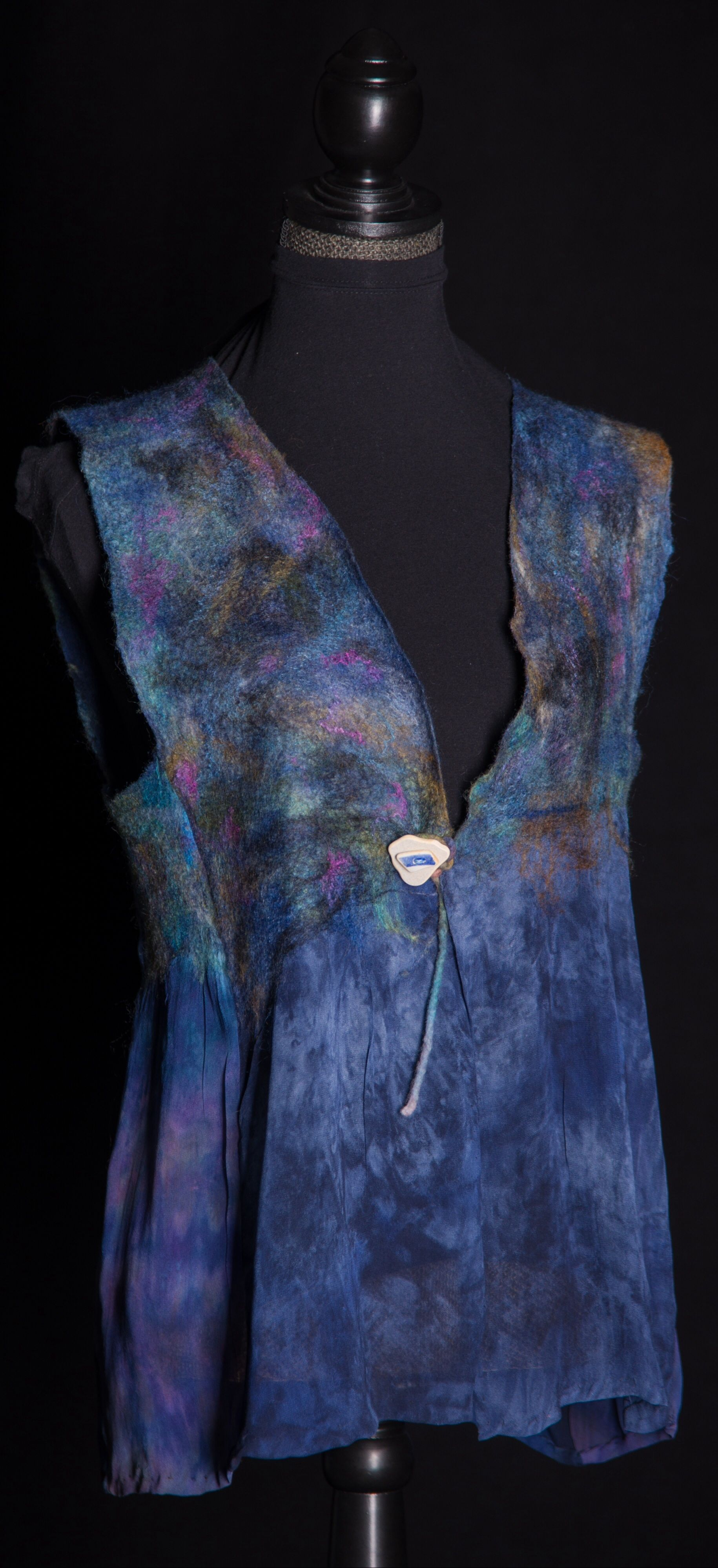 Nuno felt vest using hand dyed silk chiffon, wool roving and silk roving.  See details at www.damhsacaora.com