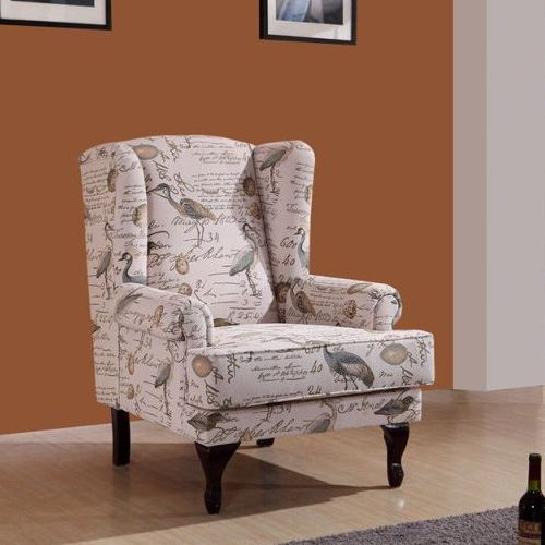 Printed Occasional Wingback Armchair Lounge Chair Chairs