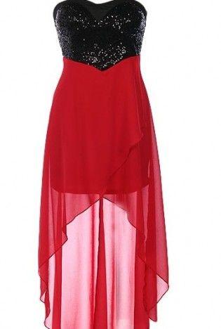 Sweetheart High-Low Dress,  Dress, Strapless Dress  Sequin Dress, Chic