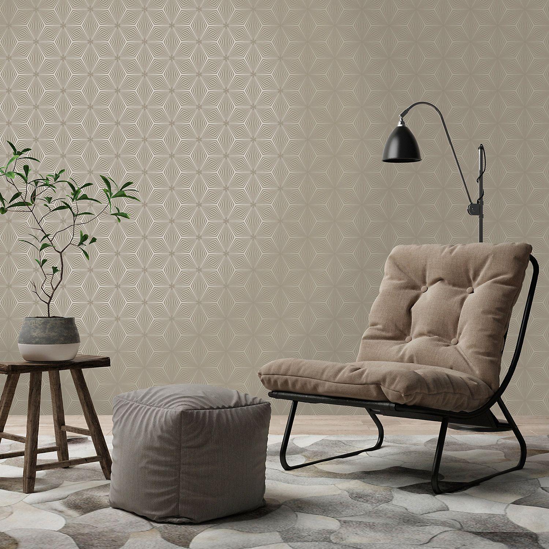 Statement Taupe & gilver Geometric Glitter Wallpaper