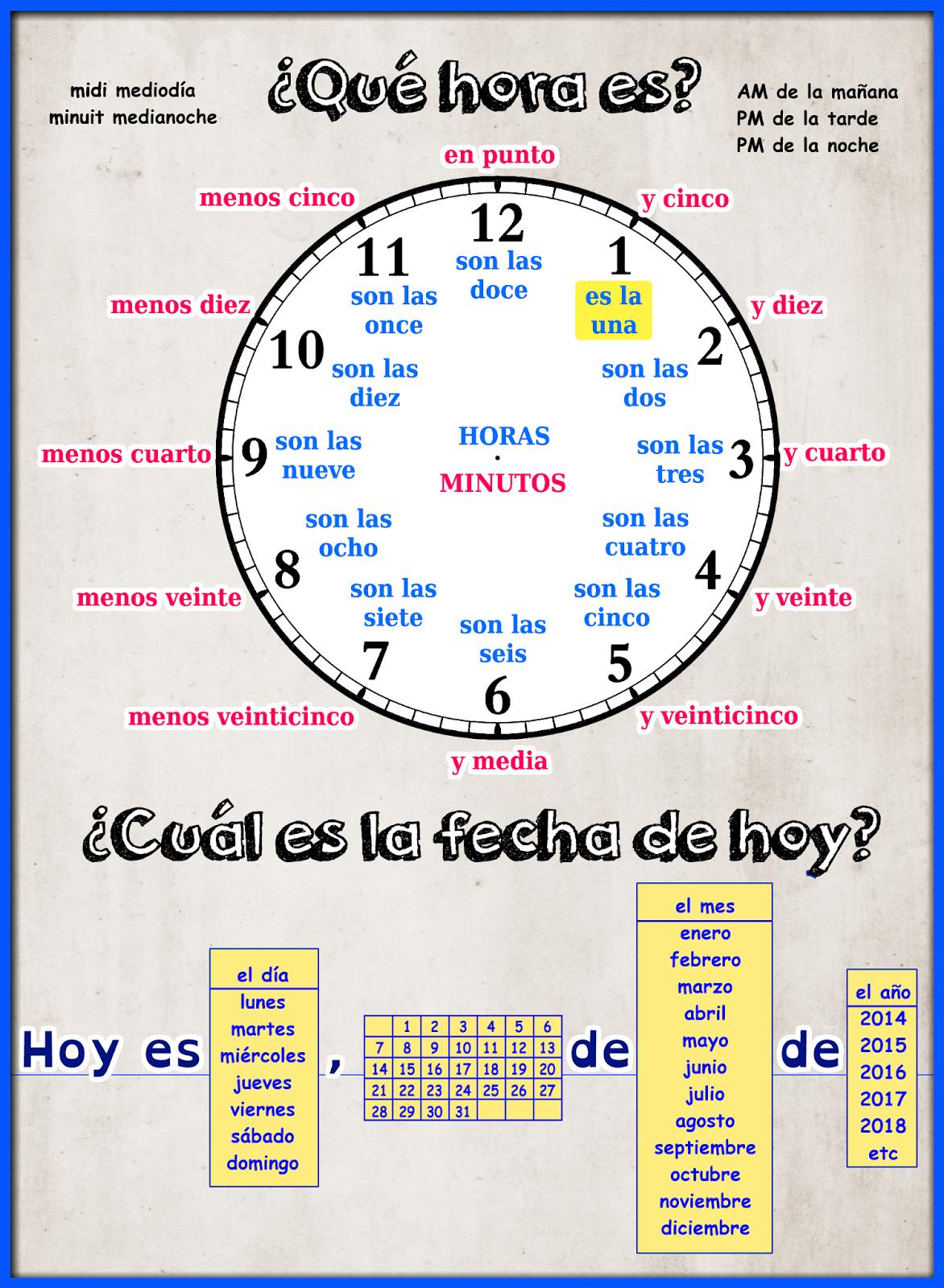Me encanta escribir en español: La hora y la fecha. | Spanish I ...
