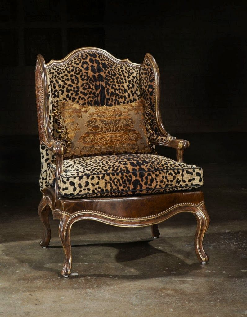 Leopard Print Leather Chair Old Hollywood Collection In