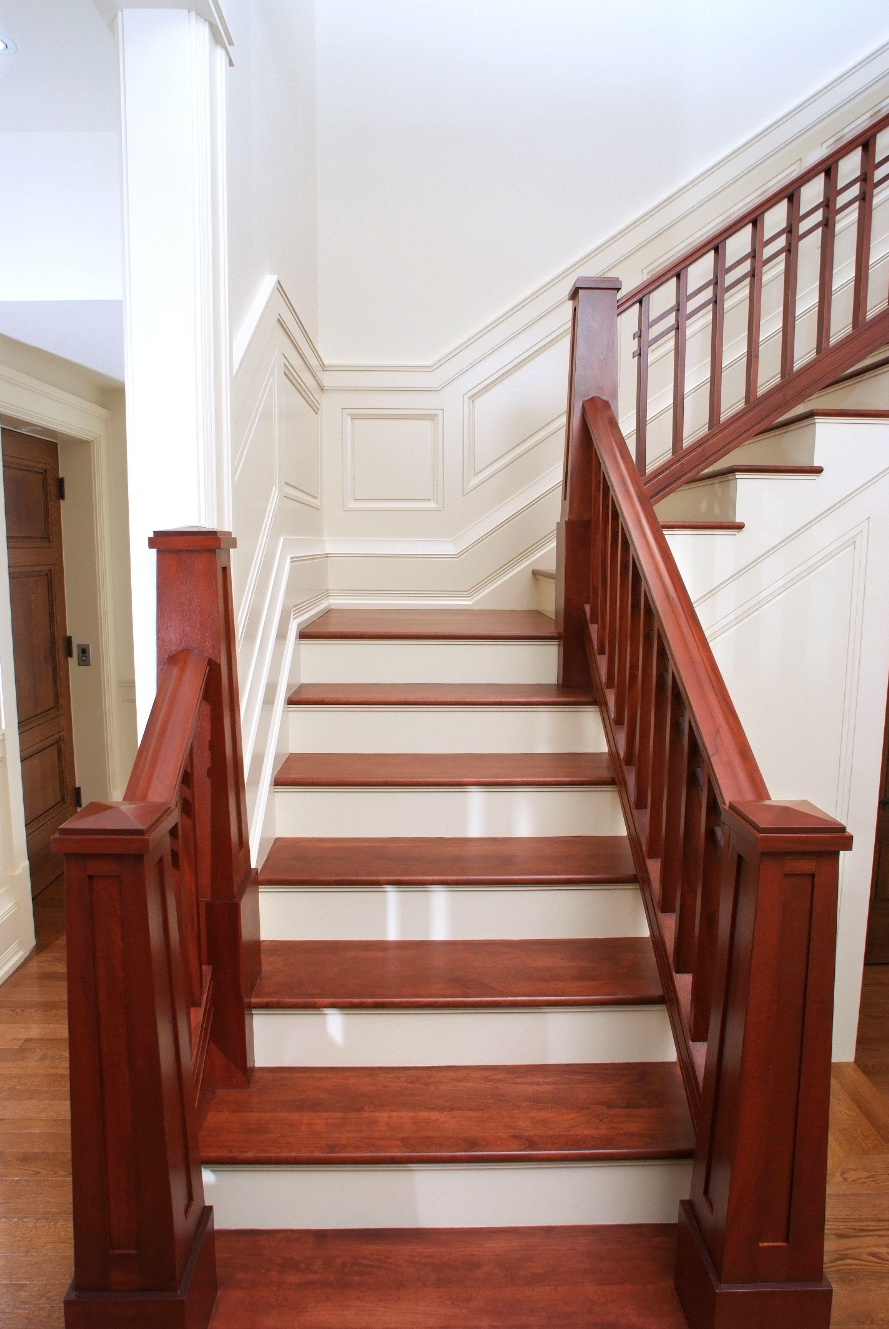 Custom Craftsman Mahogany Handrail And Newel Post With