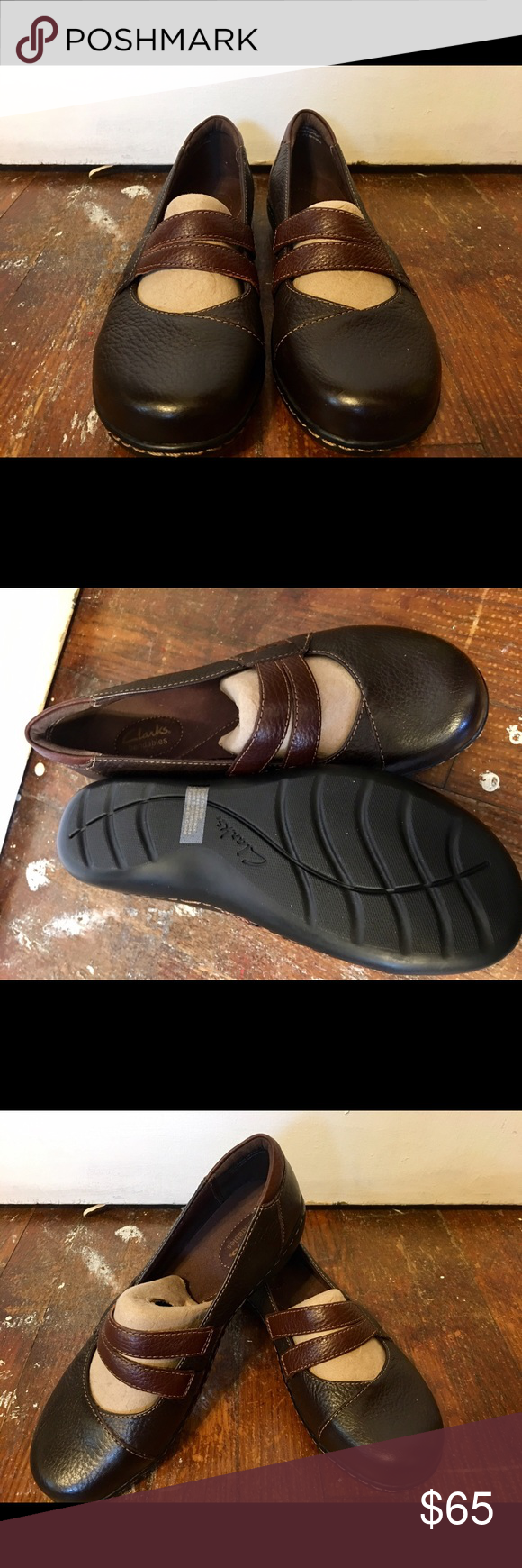 Still Has Inserts To Keep Shape Dark Brown Leather Two Straps Comfortable Insoles Perfect Work Shoe Clarks Shoes Flats Loafers