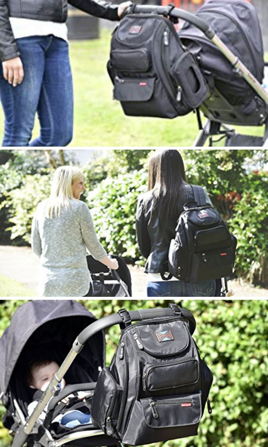 Changing Pad and Sundry Bag Bag Nation Diaper Bag Backpack with Stroller Straps