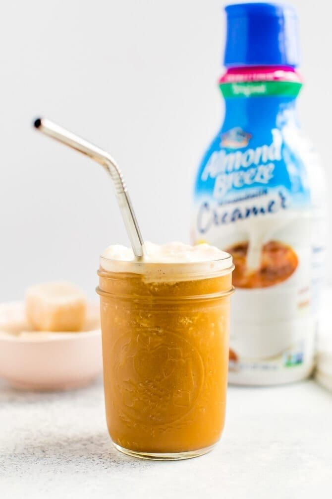 This creamy iced coffee made with frozen cubes of almondmilk creamer and cold brew coffee is the perfect, refreshing drink to get your morning started.
