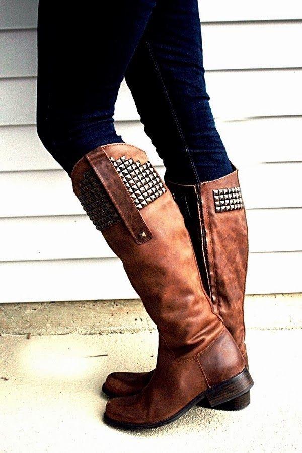 456701ab02b9e Steve Madden Long Studded Boots.  fall  boots Bottes Marron, Bottes  Cavalières,