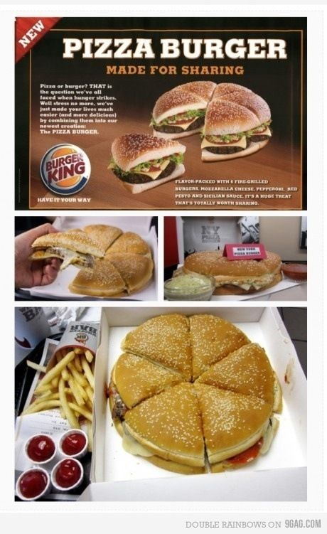 Pizza Burger Burger King In Times Square Food Pizza Burgers Gourmet Burgers