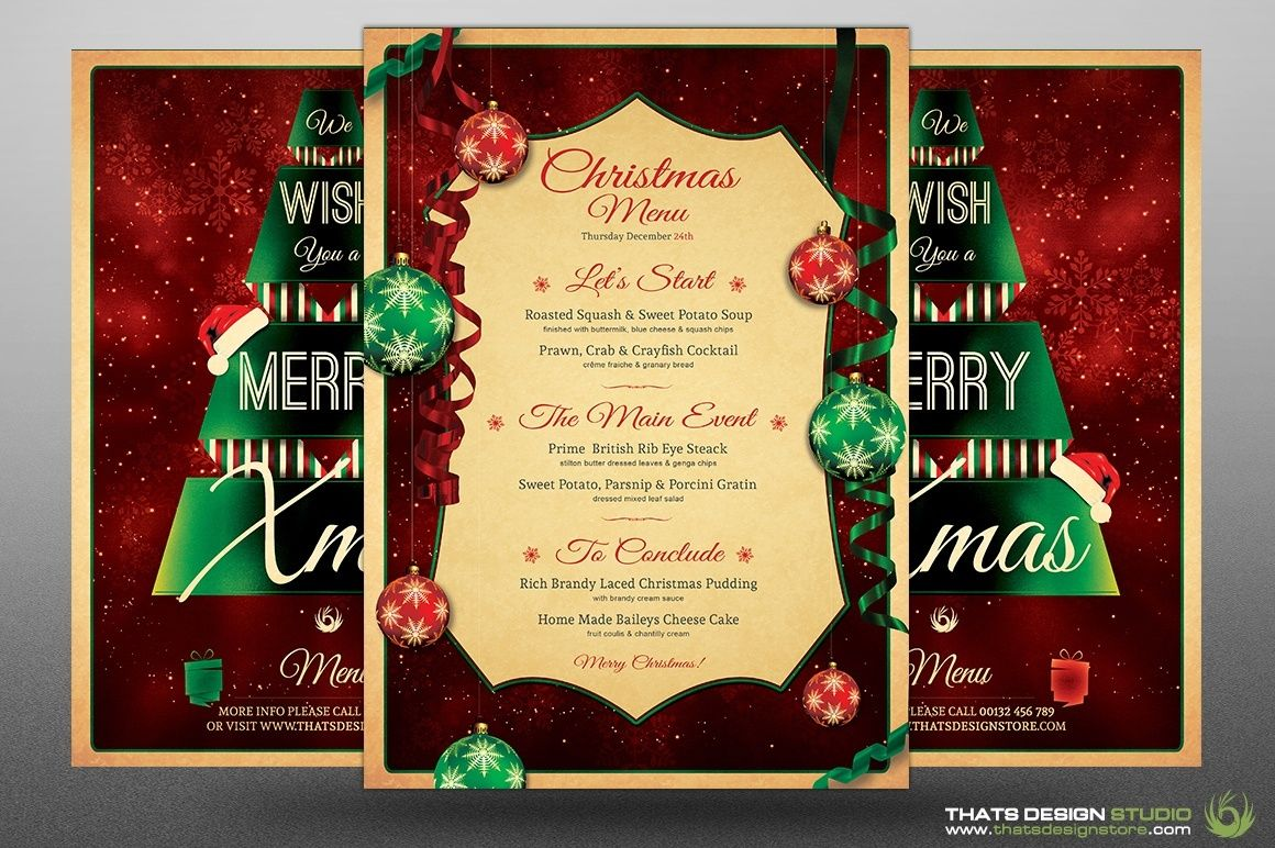 Christmas Menu Template V7 Menus Restaurant Pinterest Menu