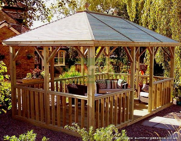 In Vogue Single Roof Rectangle Enclosed Gazebo With Wooden: Visit Divainterior.com