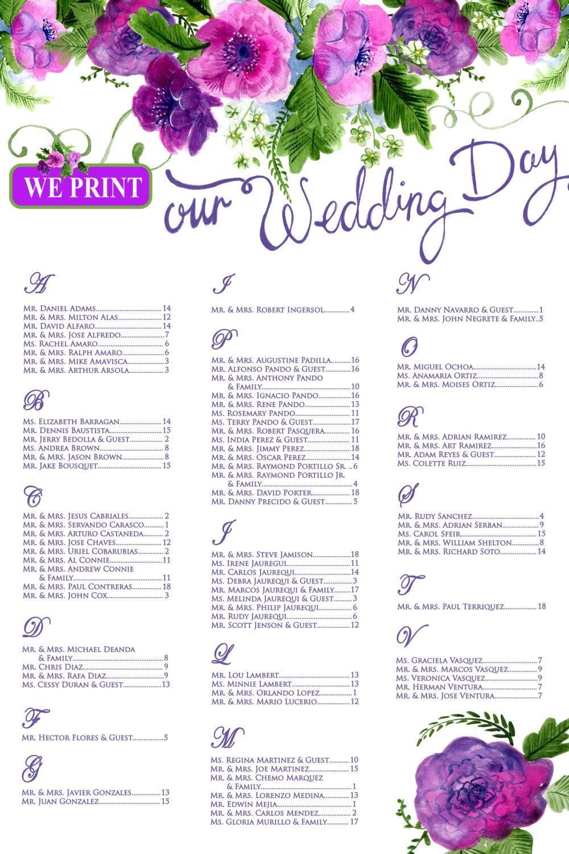 Floral Wedding Seating Chart template, Purple wedding