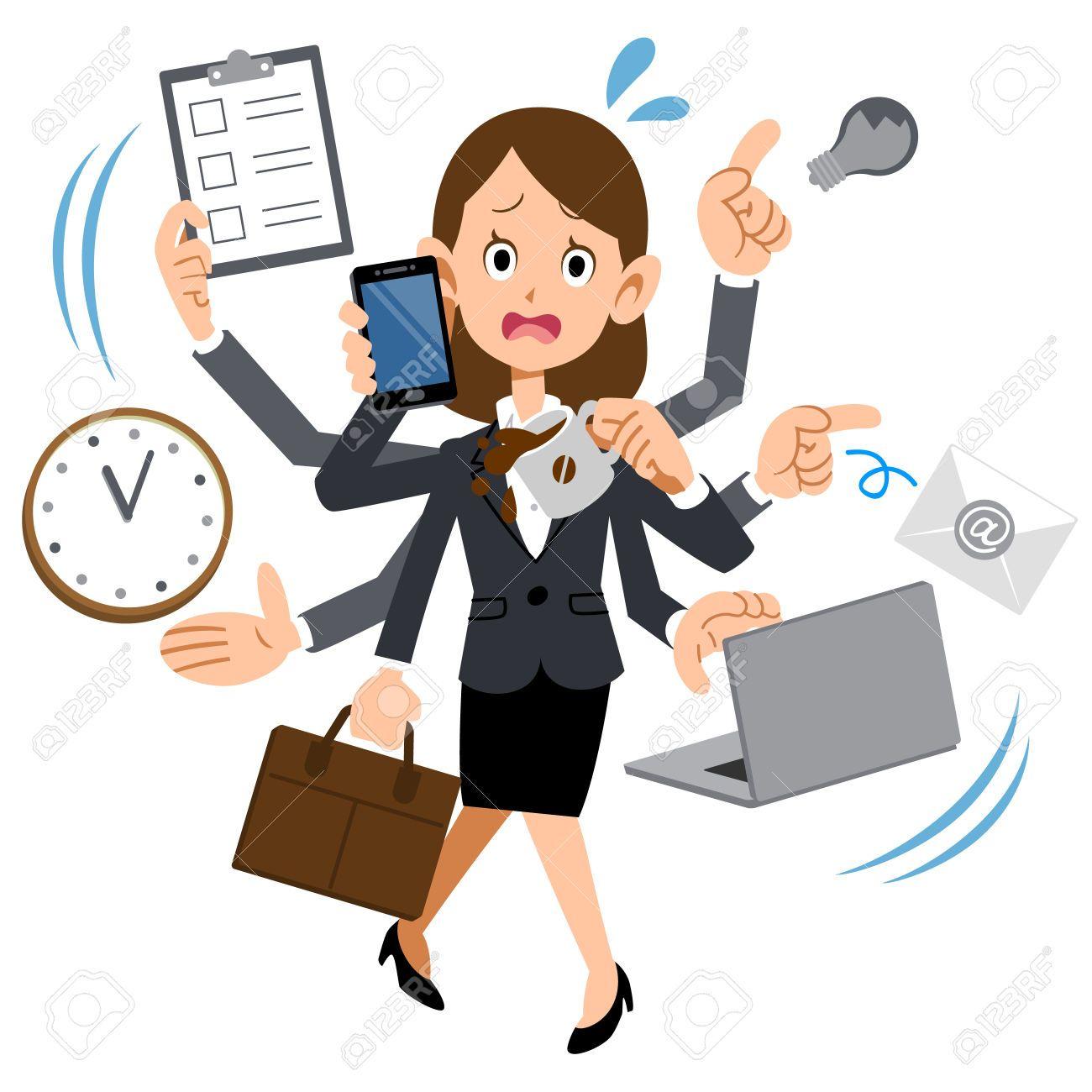The Busy Girl Work cartoons, Cartoon images, Office cartoon