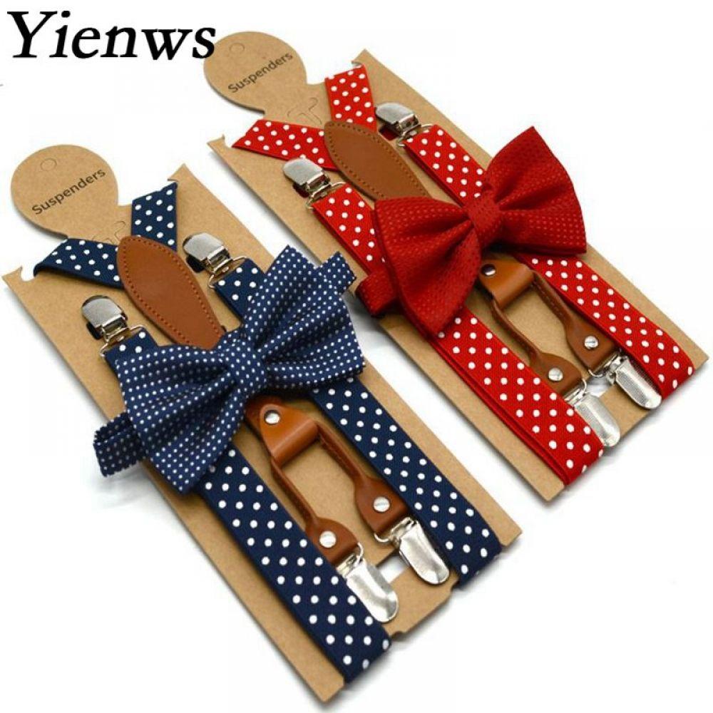 Polka Dot Bow Tie Suspender For Men Women 4 Clip Leather Adult Bowtie Braces