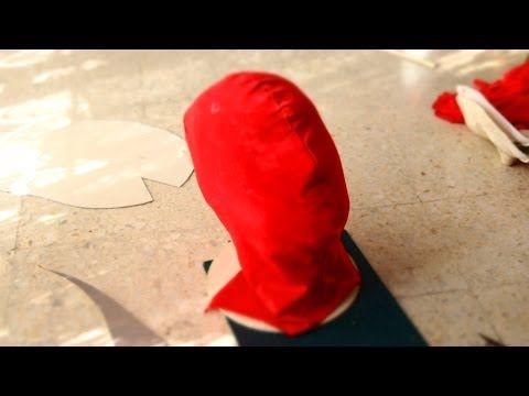 49: Spiderman Mask DIY Part 1 - Fabric, No Sewing, All Glued | How ...