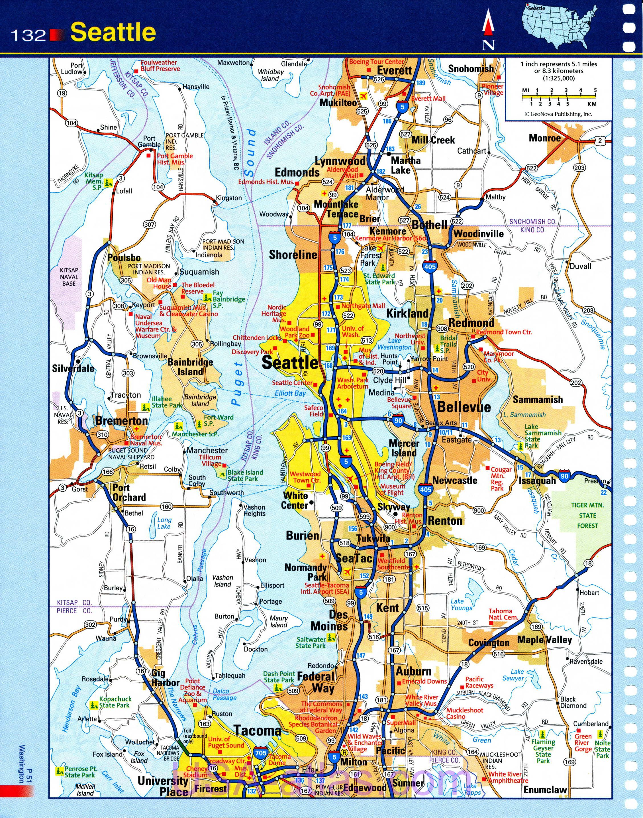 Seattle Map Detailed Road Map Of Seattle Wa Clear Map Of The