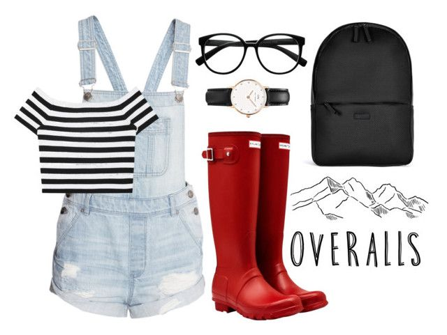 """//overalls//"" by supernatural-chloe ❤ liked on Polyvore featuring H&M, Rains, Alice + Olivia, Daniel Wellington, Retrò, Hunter, TrickyTrend and overalls"