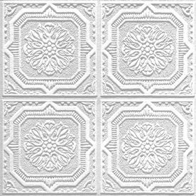 Armstrong Ceilings Tin Look Wellington Homestyle White Patterned Surface Mount Acoustic Ceiling Tiles Common X Actual