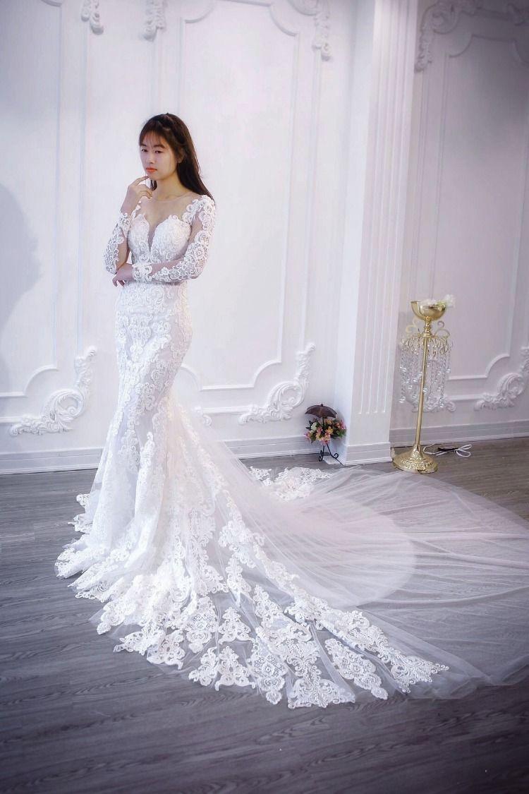 Lace Mermaid Wedding Dress Vintage Wedding Long Sleeve Bridal Gown Long Sleeve Bridal Gown Wedding Dresses Lace Custom Wedding Dress [ 1125 x 750 Pixel ]