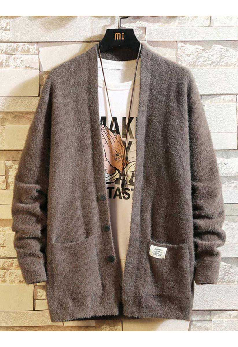 Men's coffee long sleeve button cardigans with front