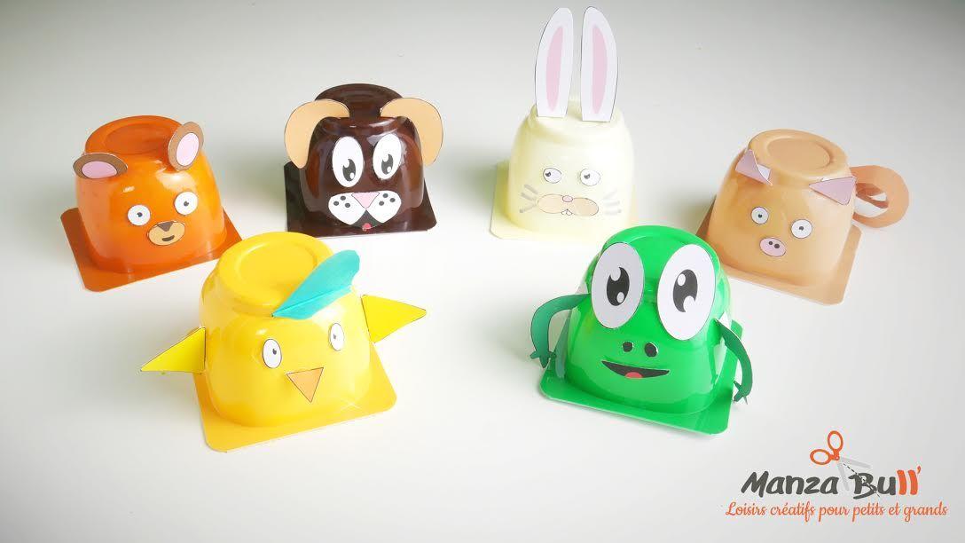 diy animaux pot de yaourt danette animaux enfant. Black Bedroom Furniture Sets. Home Design Ideas