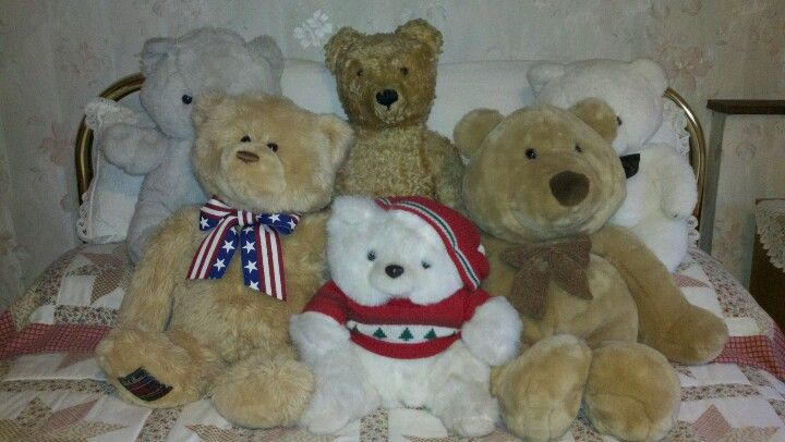 Teddy family poses in the s'bear bedroom.