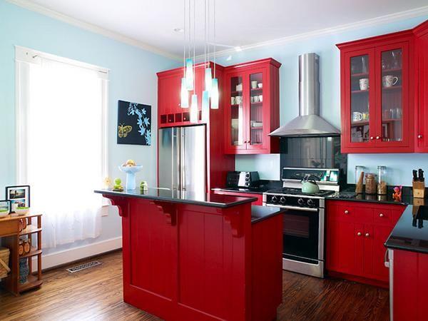 petite cuisine rouge et noire avec bar en bois   cuisine   Cuisine ...