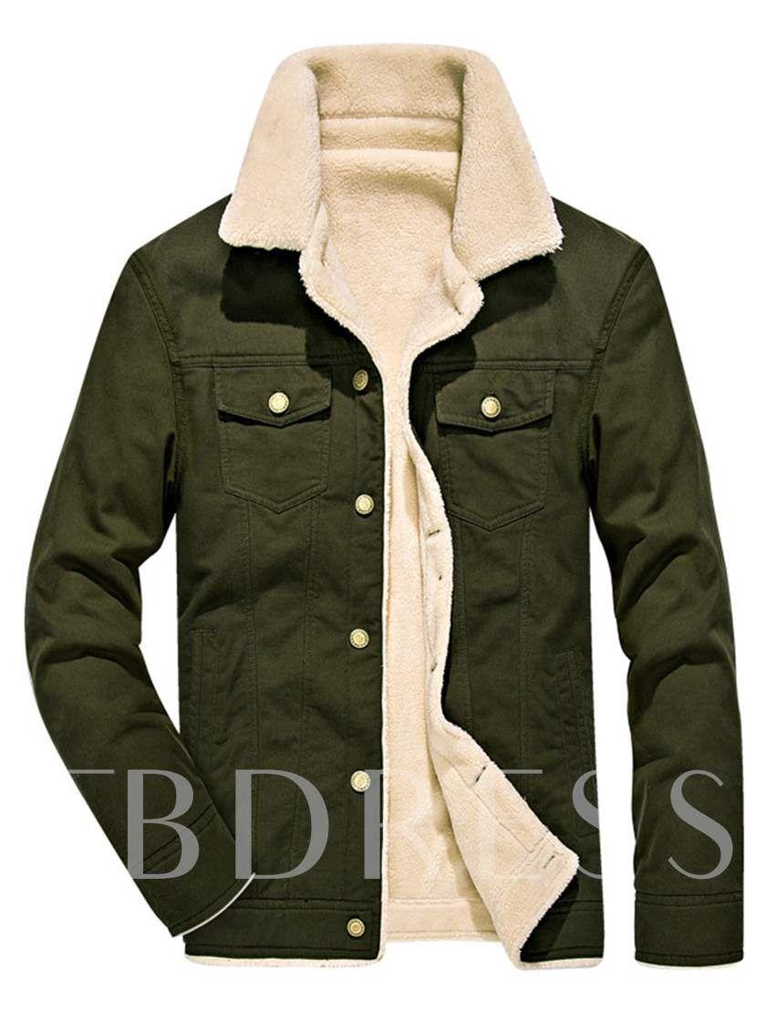 Men Winter slim fit Jacket Warm Denim Fur Fleece Collar Outwear Lined Jean Coat