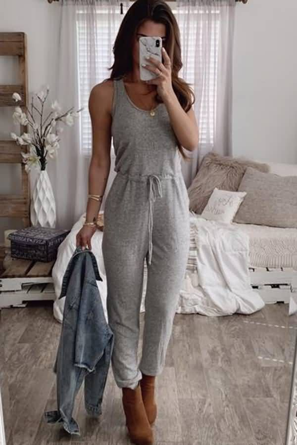 Women Gray Tied Sleeveless Pocket Casual Jumpsuit - L #casualjumpsuit